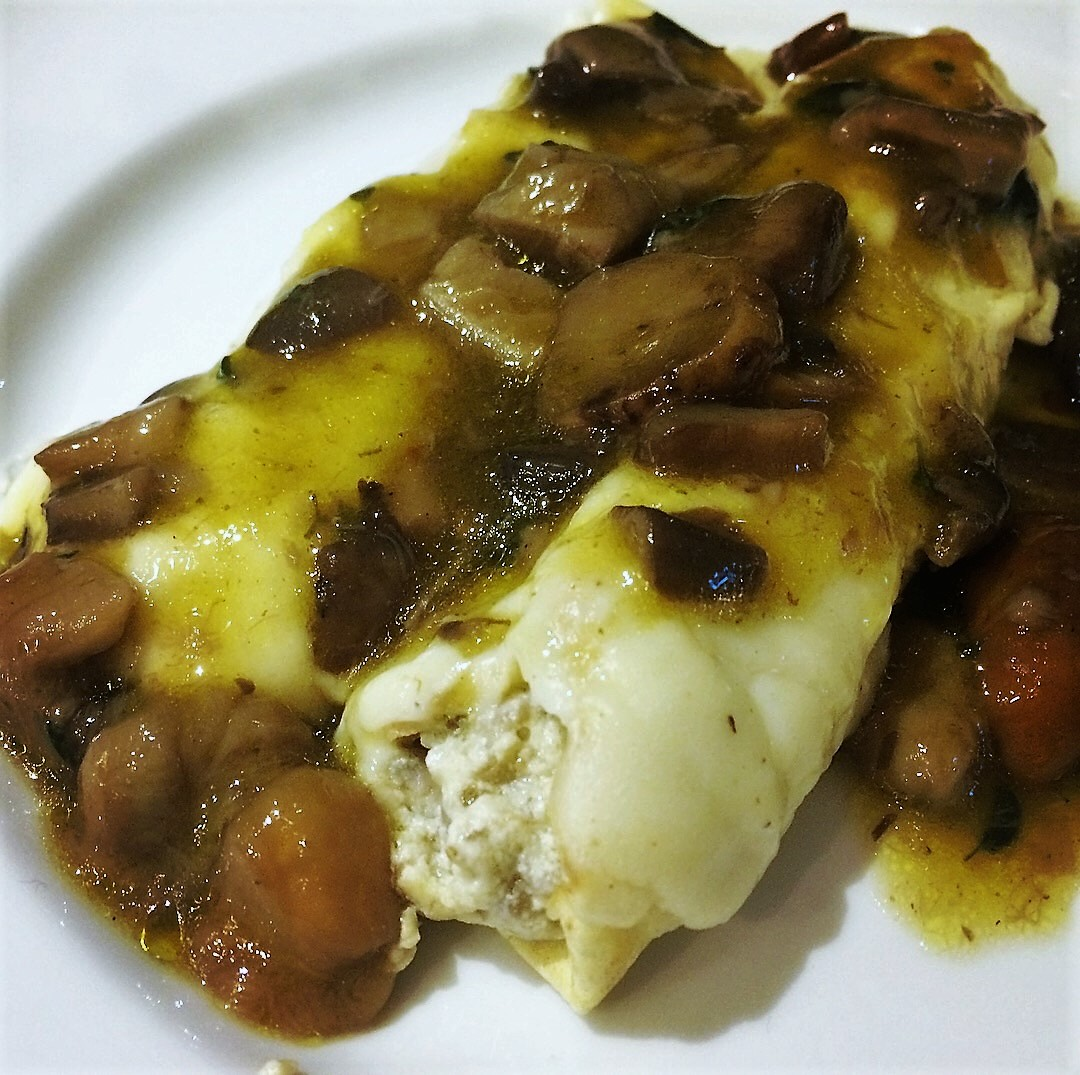 Crespelle with mushrooms